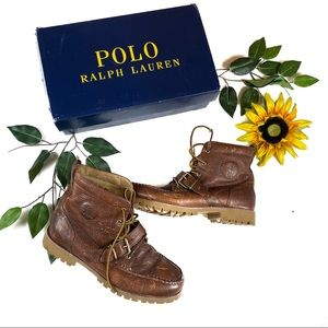 Ralph Lauren Polo Distressed Leather Harness Boots
